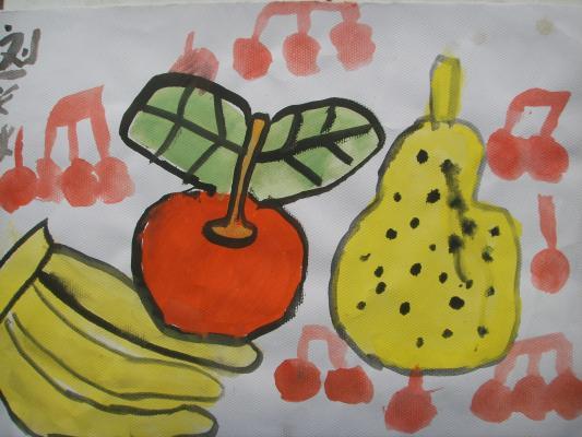 秋秋水粉画 水果图